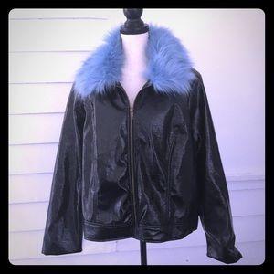 Who What Wear 3X Jacket Blue Faux Fur Collar NWOT